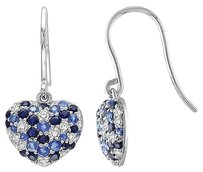 Other Sterling Silver Blue White Sapphire Heart Love Earrings