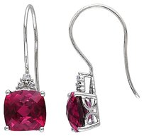 Other 10k White Gold Diamond 5.66 Ct Ruby Shepard Hook Earrings Gh I2-i3