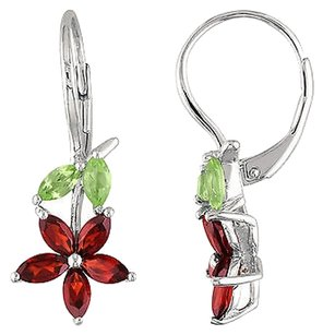 Sterling Silver 2 12 Ct Garnet Peridot Flower Nature Leverback Drop Earrings