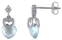 Other 10k White Gold Diamond And 3 38 Ct Sky Blue Topaz Double Heart Stud Earrings