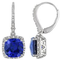 Sterling Silver Diamond Sapphire Dangle Earrings G-h I3