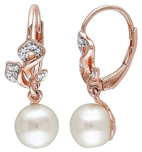 110 Ct Diamond 7-8 Mm Freshwater Pearl Leverback Earrings Pink Silver Gh I2i3