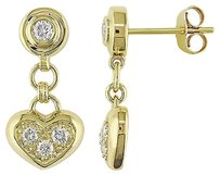 14k Yellow Gold 13 Ct Diamond Heart Love Drop Dangle Earrings I1-i2