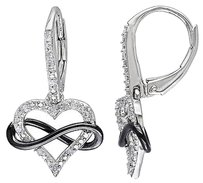 Sterling Silver 110 Ct Diamond Heart Inifinity Leverback Earrings I2i3