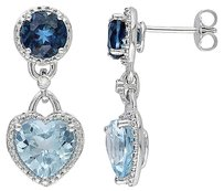 Other Sterling Silver Diamond And 9 13 Ct Blue Topaz Heart Love Stud Earrings
