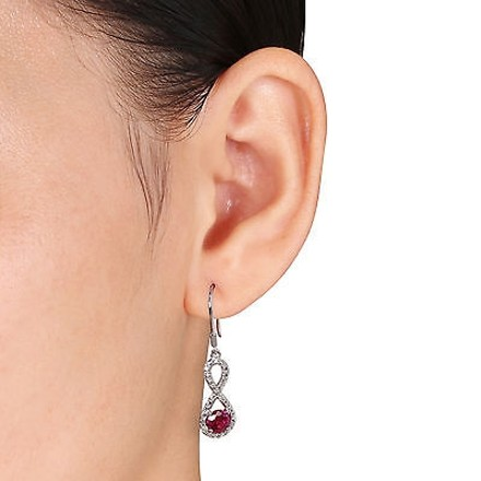 Other 10k White Gold 110 Ct Diamond 1 16 Ct Ruby Charm Infinity Earrings I2i3