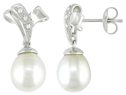 Other Sterling Silver Freshwater Pearl Accent Diamond Earrings 0.04 Ct G-h I3