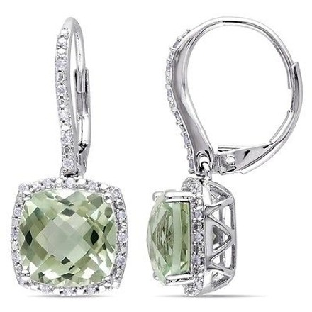 Other Sterling Silver Green Amethyst Diamond Leverback Drop Earrings 5.5 Ct G-h I3
