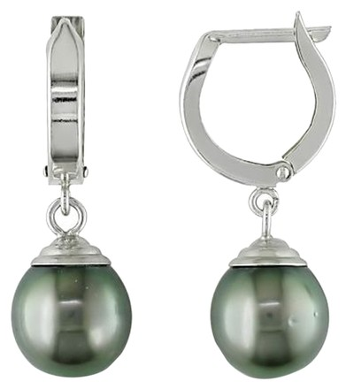 Other 14k White Gold 9-9.5mm Tahitian Cultured Pearl Drop Earrings