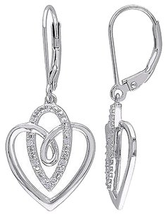 Sterling Silver 110 Ct Diamond Tw Heart Love Leverback Drop Earrings Gh I2i3