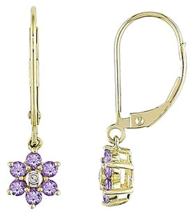 Other 14k Gold Amethyst Diamond Flower Nature Dangle Earrings G-h I1-i2