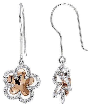 Other Amour 10k 2-tone Gold 14 Ct Tdw Diamond Flower Nature Earrings G-h I2-i3