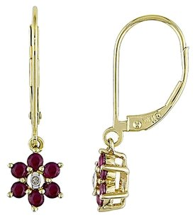 Amour 14k Gold Ruby And Diamond Flower Nature Dangle Earrings G-h I1-i2