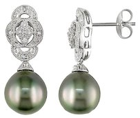 Silver 9-10 Mm Black Tahitian Pearl Diamond Art Deco Earrings 0.05 Ct G-h I3