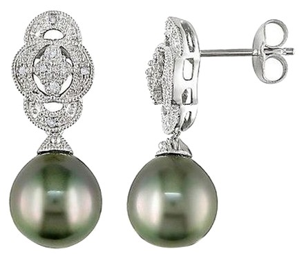 Other Silver 9-10 Mm Black Tahitian Pearl Diamond Art Deco Earrings 0.05 Ct G-h I3