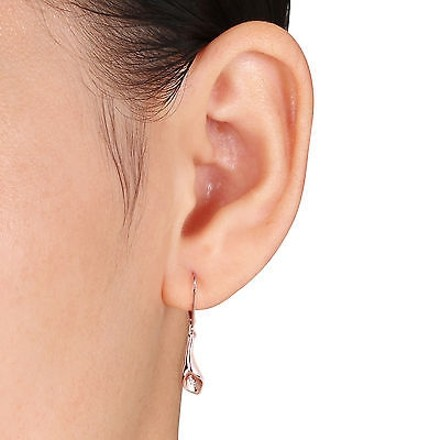 Other Rose Sterling Silver Diamond Calla Lily Leverback Earrings Gh I3