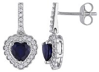 Other 10k White Gold 14 Ct Diamond And 1 18 Ct Diffused Sapphire Heart Drop Earrings