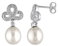 Sterling Silver 9-9.5 Mm Pearl Diamond Accent Drop Earrings 0.05 Cttw G-h I2-i3