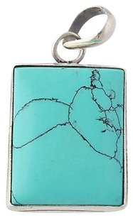 Other Dyed Blue Howlite Pendant - Sterling Silver 925 Womens Chunky Rectangle