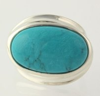 Other Dyed Howlite Ring - 925 Sterling Silver Chunky Oval Blue Stone 5.75
