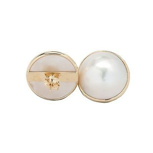 Earrings 14k Yellow Gold 19 Mm Cultured Mabe Pearls Butterfly Back 9.9 Grams