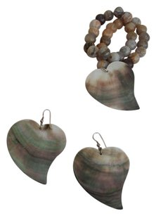 Earrings with bracelet, Nacar shell