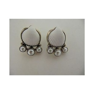 Other Echo Of The Dreamer White Shell Post Earrings Sterling With Pearls