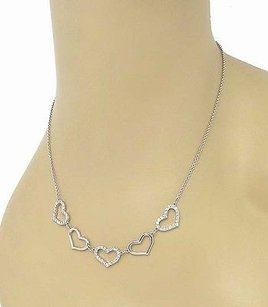 Elegant 18k White Gold 1.20ctw Diamond Five Hearts Necklace