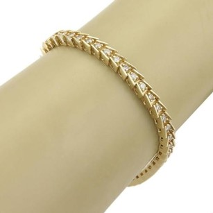 Elegant 2ct Diamonds 14k Yellow Gold Fish Bone Design Tennis Bracelet