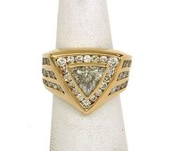 Elegant 4.65ct Diamonds 14k Yellow Gold Solitaire Waccent Ring