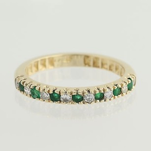 Emerald Diamond Ring - 14k Gold April May Wedding Stackable .48ctw