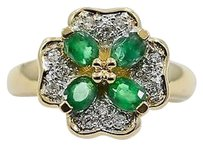 Other Emerald Diamonds Clover Flower Ring 14k Yellow Gold 4.5grams