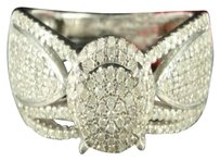 Engagement Ring Round Cut Butterfly Band Gold Finish Silver Diamond Cocktail
