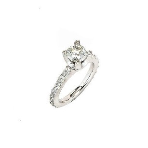 Engagement Ring Setting 14k White Gold 1.63 Ct Diamond H- S12 4.4 Grams