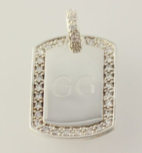 Other Engravable Cubic Zirconia Pendant - 925 Sterling Silver Womens Fashion Estate
