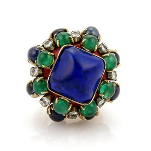 Other Estate 13ct Diamonds Sapphire Emerald Enamel 14k Gold Dome Ring