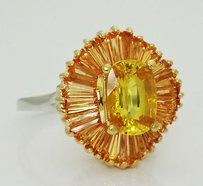 Other Estate 14k Gold Ct Cushion Natural Corundum Yellow Sapphire Ring Gia R19