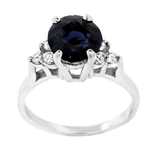 Other Estate 14k White Gold Sapphire Solitaire With Diamond Accents Ring
