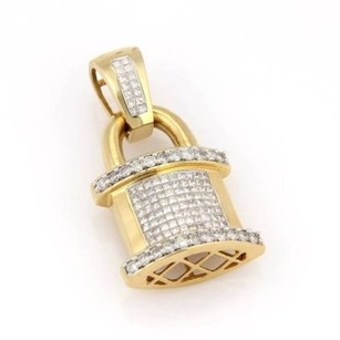 Estate 14k Yellow Gold 3.5ctw Invisible Set Diamond Padlock Pendant