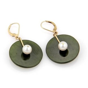 Estate 14k Yellow Gold Jade Pearl Disc Drop Dangle Earrings