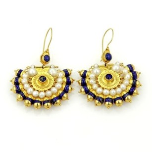 Other Estate 14k Yellow Gold Lapis Pearl Dangle Peacock Earrings