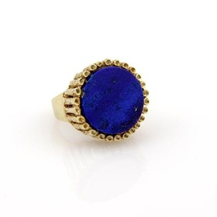 Estate 14k Yellow Gold Round Lapis Solitaire Ring - 10.25