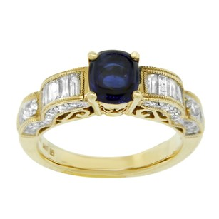 Other Estate 14k Yellow Gold Sapphire And Diamond Embellished Ring