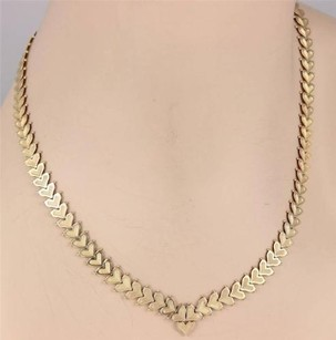 Estate 14k Yellow Multi Gold Heart Link Necklace