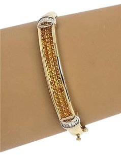 Other Estate 14kt Two Tone Gold 5.9ctw Diamond Yellow Sapphire Bangle Bracelet