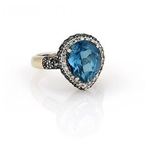 Estate 18k Wg 8.70ct Topaz Sapphire Diamond Cocktail Ring -
