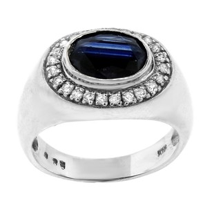 Estate 18k White Gold Diamond And Sapphire Centered Ring