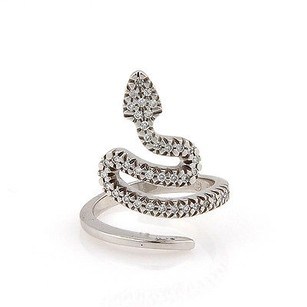 Estate 18k White Gold Diamond Snake Fashion Ring -