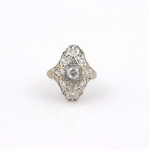 Other Estate 18k White Gold Filigree Diamond Ring - 5.25