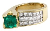 Other Estate 18k Yellow Gold 2ct Emerald Invisible Set Diamond Fashion Ring